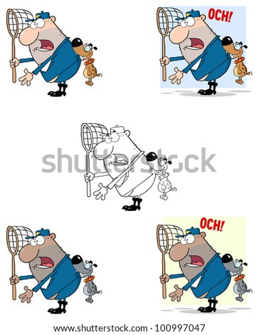Angry Dog Biting A Dog Catcher. Raster Illustration.Vector version also available in portfolio.