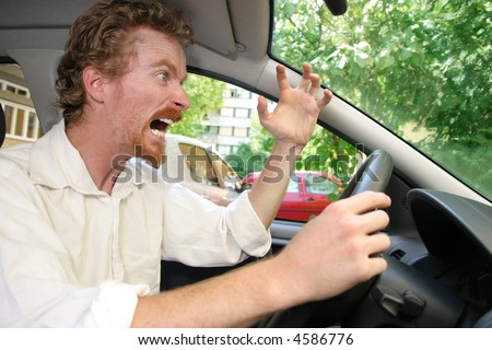 angry driver in the car