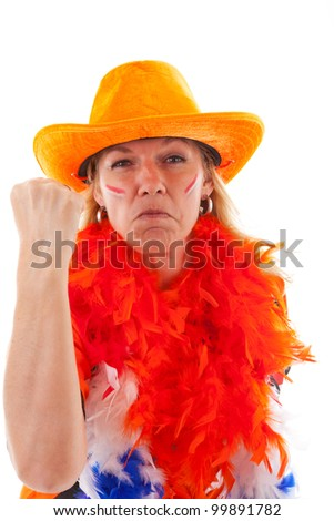 Angry Dutch female soccer supporter in orange outfit over white background