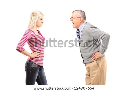 Angry father shouting at his daughter isolated on white background