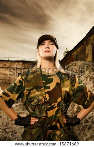 Angry female soldier