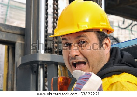 Angry forklift operator yelling