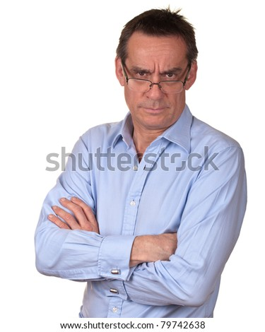 Angry Frowning Middle Age Man in Blue Shirt