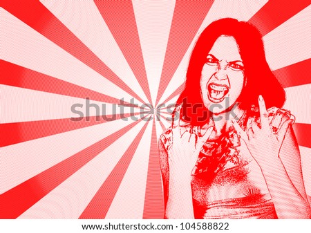 angry girl with with characteristic heavy metal hand gesture