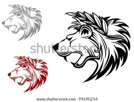 Angry heraldic lion with laurel wreath on head. Vector version also available in gallery