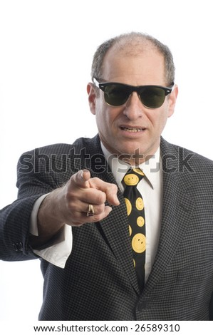 angry mad threatening corporate business senior executive wearing retro vintage fashion sunglasse portrait tough guy
