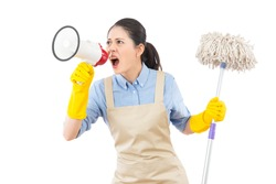 angry mad young housewife using loudspeaker to call her kids to cleanup of the mess with holding a mop. isolated on white background. mixed race asian chinese model.