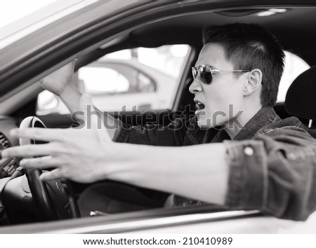 Angry male driver.