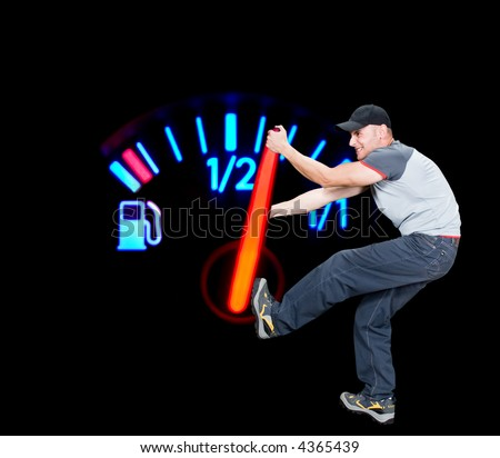 Angry man pulling the fuel needle, global warming conceptual,  gauge in macro mode,