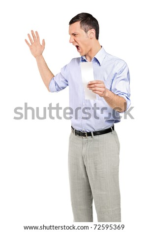 Angry man yelling after looking at store receipt isolated on white background