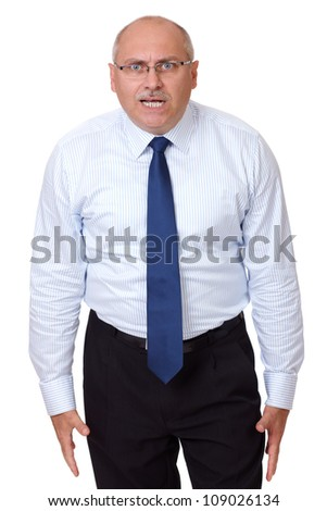 Angry mature businessman isolated on white background