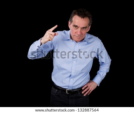 Angry Middle Age Business Man Shaking Finger Black Background