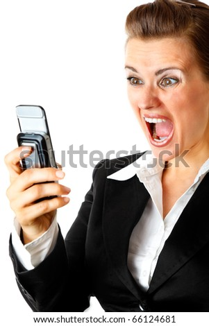 Angry modern business woman shouting on mobile phone
