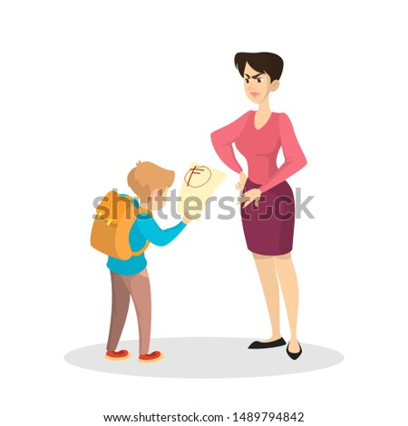 Angry mother and upset boy with bad grades. Sad child cry and holding paper from school. Isolated flat illustration