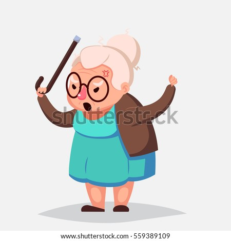 Angry Old Woman Brandishing Her Cane. Senior lady
