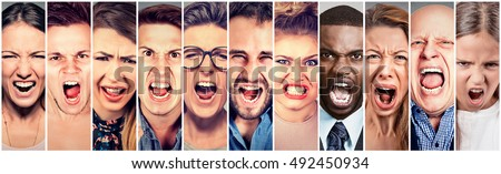 Angry people screaming. Group of men women frustrated shouting  #492450934