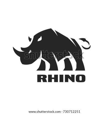 Angry rhino. Monochrome logo, symbol.