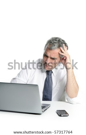 angry sad senior gray hair businessman laptop computer hand gesture