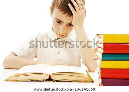 Angry schoolboy with learning difficulties. Isolated on a white background