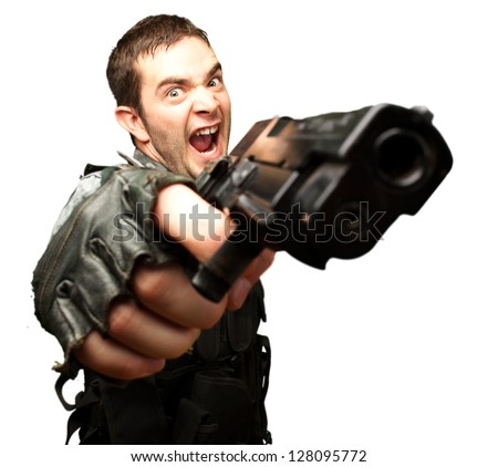Angry Soldier Holding Gun On White Background