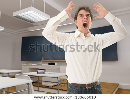 Angry teacher in a classroom