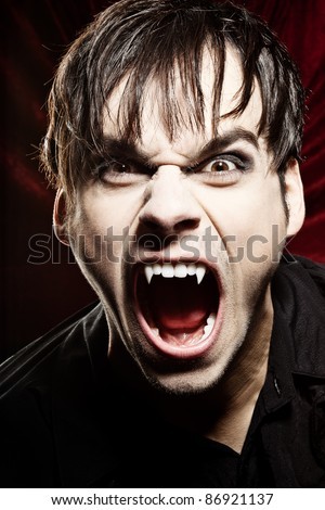 Angry vampire screaming