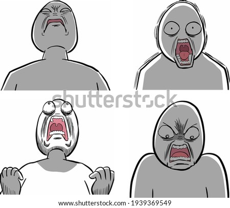 angry white character shout to somebody Stock photo ©
