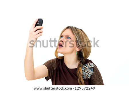 angry woman making a phone call over white background