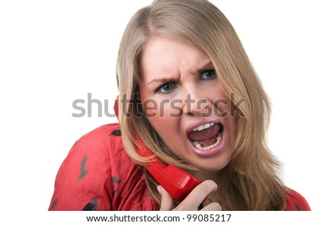 angry woman shouting to phone isolated on white background