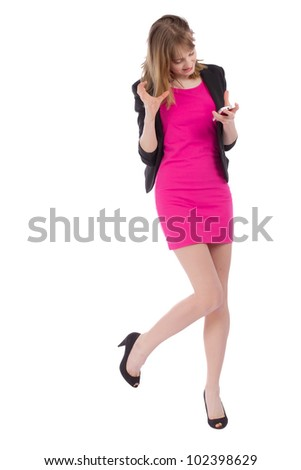 Angry young beautiful business lady with mobile phone over white background