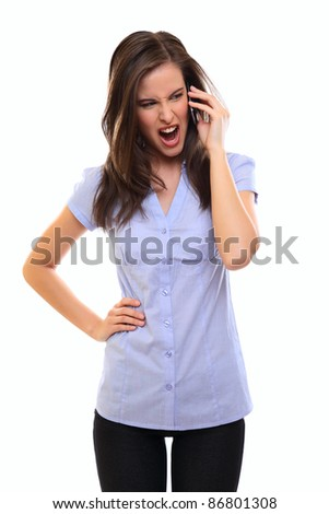 angry young brunette woman - stock photo