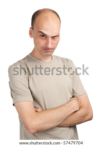 Angry young man isolated on a white background