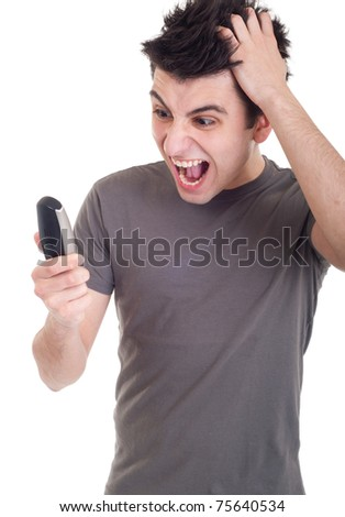 angry young man yelling at mobile phone isolated on white background