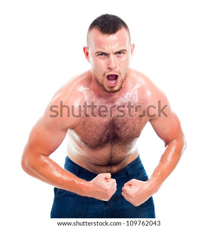 Angry young muscular sports man, isolated on white background.
