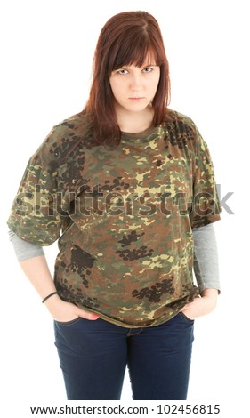 angry young woman in camouflage shirt, white background