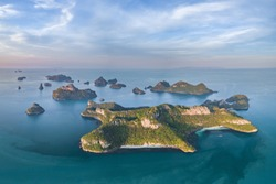 Angthong National Marine Park in the Gulf of Thailand Aerial Drone View with copy space Archipelago of islands in Southern Thailand Ang Thong Islands Long exposure shutter speed dream seascape ocean