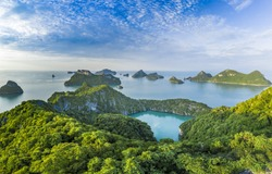 Angthong National Marine Park, Thailand islands natural background sea land beach sky water ocean Gulf of Thailand no people copy space yachting yacht sail boat sailing adventure escape drone aerial