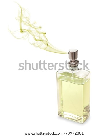 Angular perfume for men spraying beautiful scent.