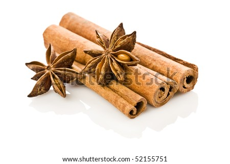 anice and cinnamon isolated