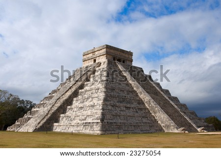 Anicent Mayan Pyramid In Chichen-Itza, Mexico Stock Photo 23275054 ...