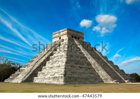 Anicent Mayan Pyramid In Chichen-Itza, Mexico Stock Photo 47443579 ...