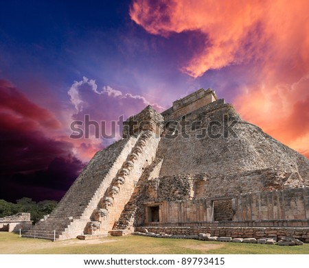 Anicent mayan pyramid in Uxmal, Mexico