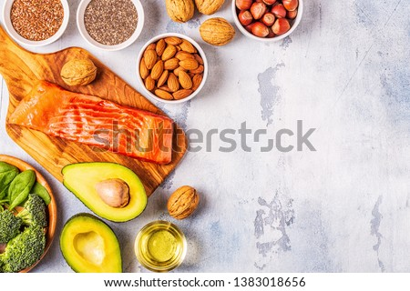 Animal and vegetable sources of omega-3 acids. Balanced diet concept. Top view, copy space. #1383018656