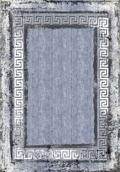 animal background carpet colorful geometry knitwear  rug textile texture old grunge abstract dirty jean texture blue background with greek rectangle  frame