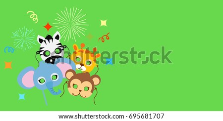 Animal Carnival funny childish masquerade masks with firework. Elephant with zebra, monkey near giraffe illustration. Masque for festival and children holiday. Dress code for kids in flat style