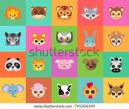 Animal carnival set of animal masks in cartoon style. Colourful decorations on background.  illustration of masques for festivals and children holidays. Dress code for kids in flat style design