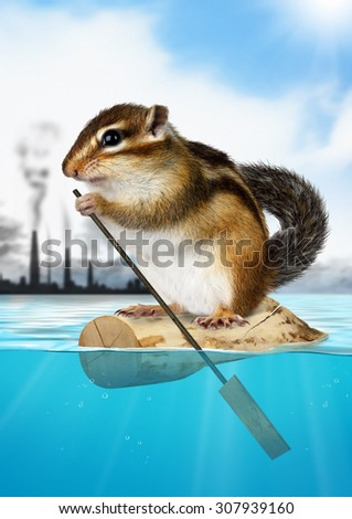 Animal Chipmunk floating away from the city, ecology concept