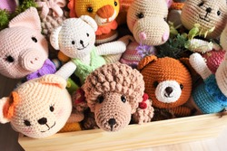 Animal crochet background. Cute toy for kid. Dog crochet. Sheep crocheting. Lion knitting. Woolen lamb. Pig crochet. Soft koala. Poodle dog. Hippo rabbit. Handmade toy. Colorful zoo. Bear crochet