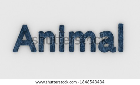 Animal - 3d word blue on white background. render furry letters. hair. pets fur. Pet shop, pet house, pet care emblem logo design template. Veterinary clinics and animal shelters homeless illustration