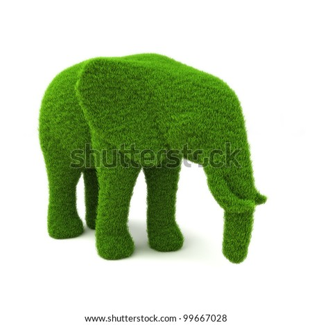 Animal elephant shaped hedge on a white background. Part of an animal theme series.